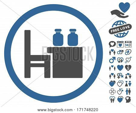 Apothecary Table icon with bonus passion symbols. Vector illustration style is flat iconic cobalt and gray symbols on white background.