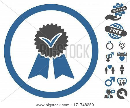 Approvement Seal pictograph with bonus passion images. Vector illustration style is flat iconic cobalt and gray symbols on white background.