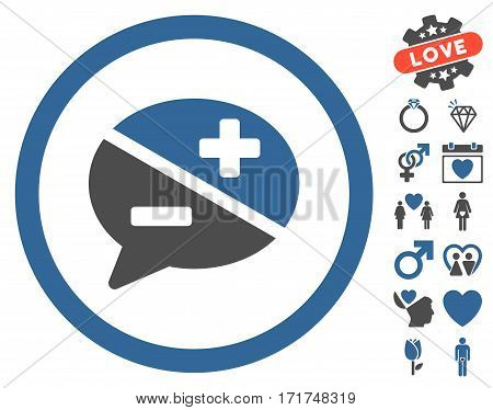Arguments icon with bonus decoration graphic icons. Vector illustration style is flat iconic cobalt and gray symbols on white background.