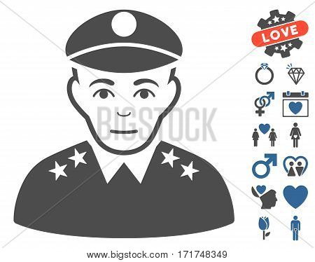 Army General icon with bonus dating images. Vector illustration style is flat iconic cobalt and gray symbols on white background.