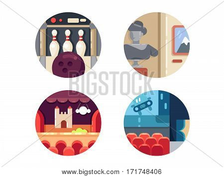 Icon set leisure entertainment. Bowling and theater, cinema and museum. Vector illustration. Pixel perfect icons size - 128 px