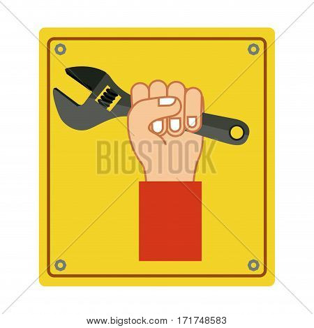 colorful silhouette plaque with hand holding wrench tool vector illustration