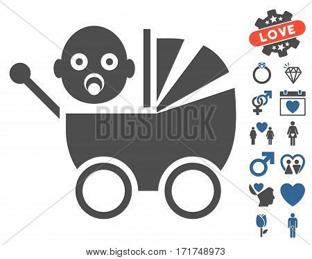 Baby Carriage icon with bonus marriage icon set. Vector illustration style is flat iconic cobalt and gray symbols on white background.