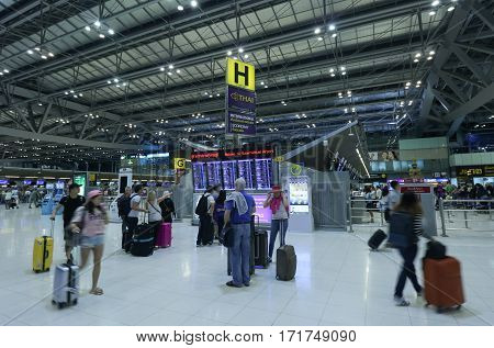 The Movement Of Tourists Inside Of Suvarnabhumi Airport. Suvarnabhumi Airport Is One Of Two Internat
