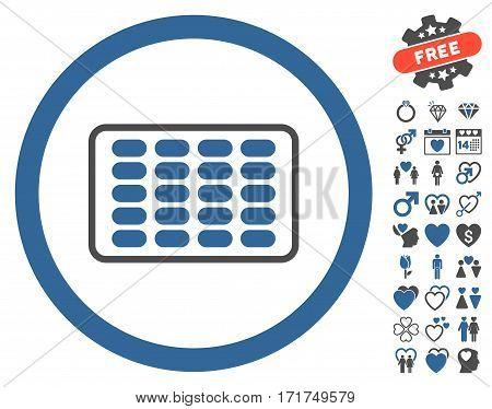 Blister icon with bonus dating pictograms. Vector illustration style is flat iconic cobalt and gray symbols on white background.