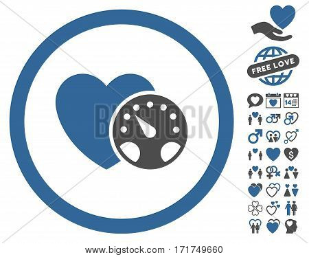 Blood Pressure Meter icon with bonus amour images. Vector illustration style is flat iconic cobalt and gray symbols on white background.