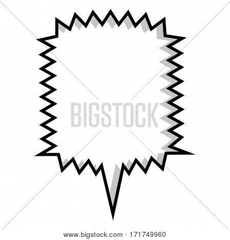 monochrome silhouette square callout scream for dialogue . Vector illustration