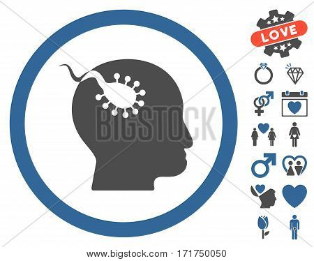 Brain Parasite pictograph with bonus romantic symbols. Vector illustration style is flat iconic cobalt and gray symbols on white background.