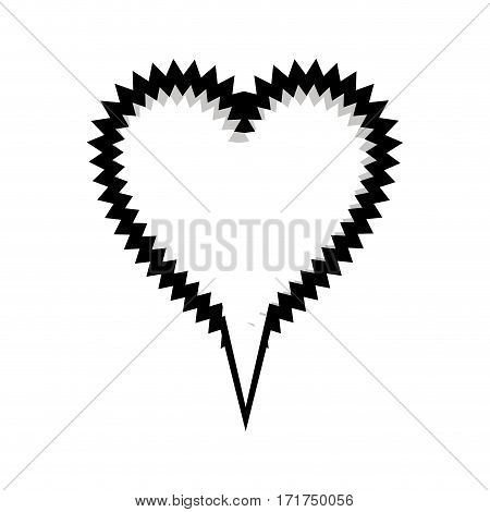 monochrome silhouette heart shape callout scream for dialogue vector illustration