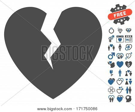 Broken Heart pictograph with bonus amour symbols. Vector illustration style is flat iconic cobalt and gray symbols on white background.