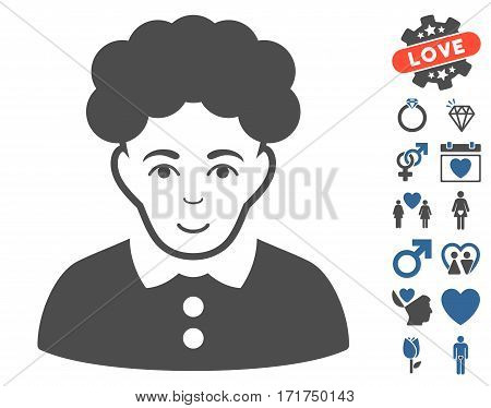 Brunette Woman pictograph with bonus romantic pictograms. Vector illustration style is flat iconic cobalt and gray symbols on white background.