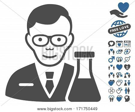 Chemist pictograph with bonus love symbols. Vector illustration style is flat iconic cobalt and gray symbols on white background.