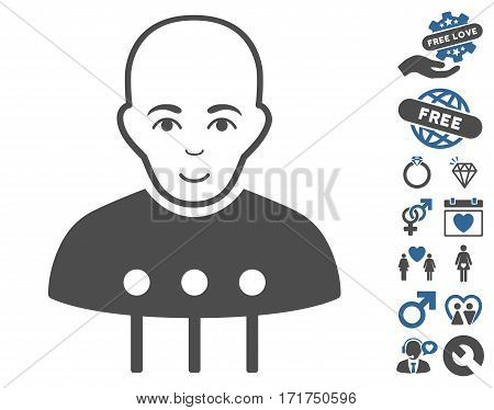 Cyborg Interface pictograph with bonus romantic icon set. Vector illustration style is flat iconic cobalt and gray symbols on white background.