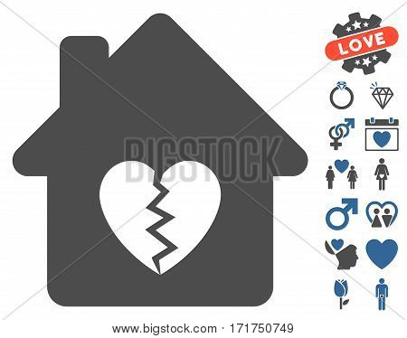 Divorce House Heart icon with bonus marriage graphic icons. Vector illustration style is flat iconic cobalt and gray symbols on white background.