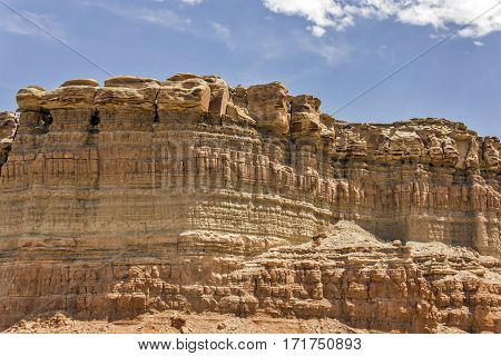 Multi-layered rock formations in the middle of Utah.
