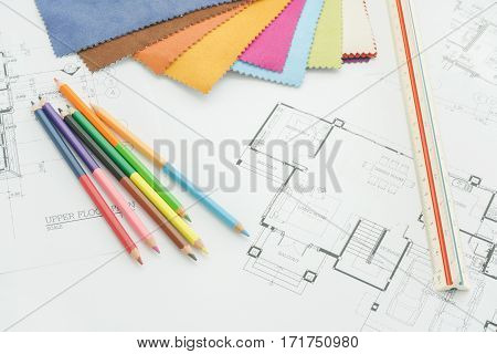 Color Pencil, Scale And Sample Of Fabric On Architectural Drawing Paper