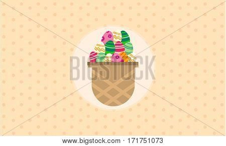 Vector illustration of easter egg on basket collection stock