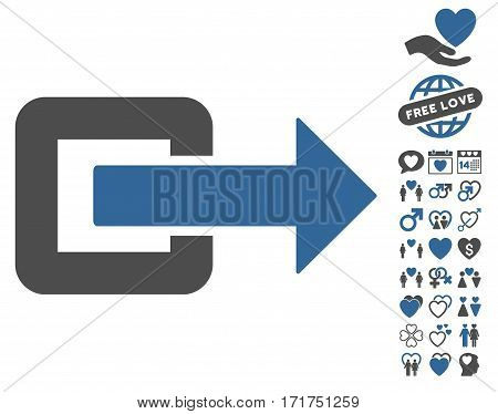Exit Direction pictograph with bonus amour pictograph collection. Vector illustration style is flat iconic cobalt and gray symbols on white background.