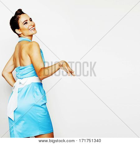 bright awesome happy smiling brunette girl emotional posing on white background, girl next door close up wondering sweety wearing blue dress, lifestyle real normal people copyspace