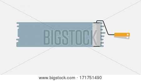 Flat Horizontal Vector Paint Roller on Wall
