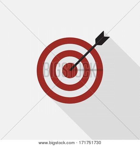 Flat Marketing Target Icon with Long Shadow