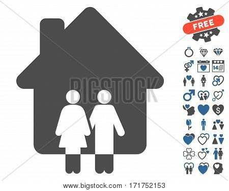 Family House pictograph with bonus amour symbols. Vector illustration style is flat iconic cobalt and gray symbols on white background.