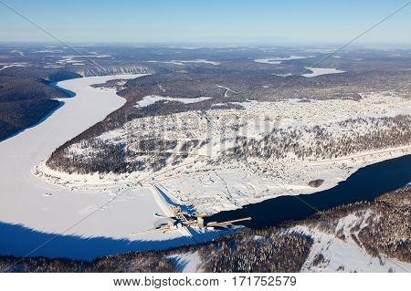Pavlovskaya hydroelectric plant - hydroelectric power station, located near the village of Pavlovka on the river Ufa in Bashkortostan, Russia