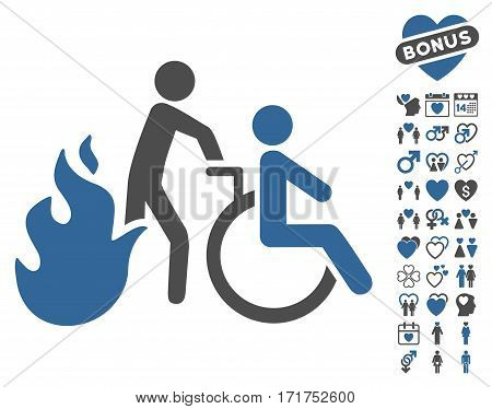 Fire Patient Evacuation icon with bonus lovely graphic icons. Vector illustration style is flat iconic cobalt and gray symbols on white background.