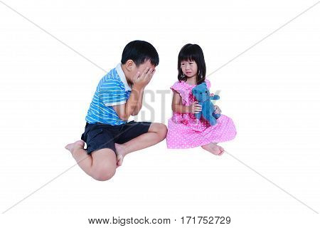 Quarreling Conflict Of Sibling. Concept Brawl In Family. Isolated On White Background.