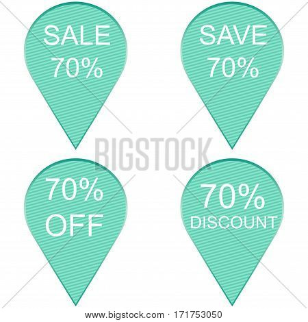 Sale 70 percent Label on white background. Vector