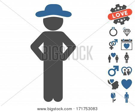 Gentleman Akimbo pictograph with bonus passion graphic icons. Vector illustration style is flat iconic cobalt and gray symbols on white background.