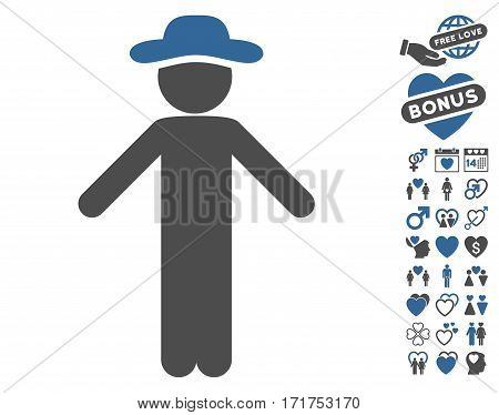 Gentleman Apology pictograph with bonus love icon set. Vector illustration style is flat iconic cobalt and gray symbols on white background.