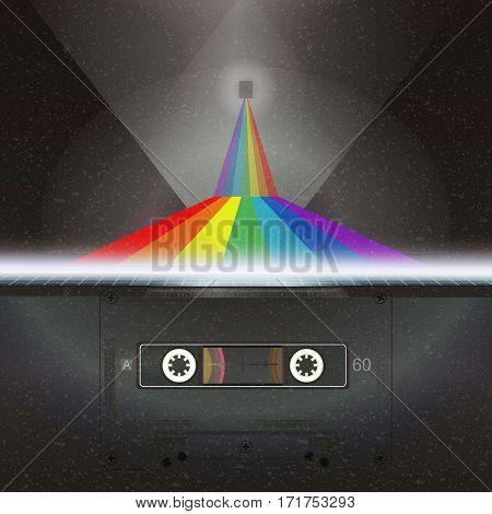 Retro future 80s style Sci-Fi Background. Audio cassette road rainbow into the universe. Landscape in a cyber world