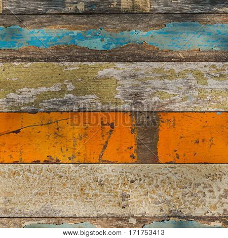Old Wood Panel with Various Pale Painted Colors