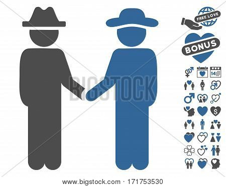 Gentleman Handshake pictograph with bonus passion pictograph collection. Vector illustration style is flat iconic cobalt and gray symbols on white background.