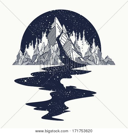 River of stars flows from the mountains tattoo art. Infinite space meditation symbols travel tourism. Endless universe concept. T-shirt design surreal graphics