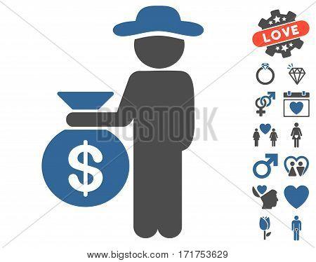 Gentleman Investor icon with bonus decorative design elements. Vector illustration style is flat iconic cobalt and gray symbols on white background.