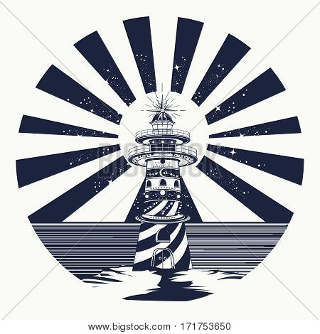 Lighthouse tattoo art symbol of meditation hiking adventures. Lighthouse searchlight tower for maritime navigational guidance. Lighthouse tattoo template in boho style t-shirt design