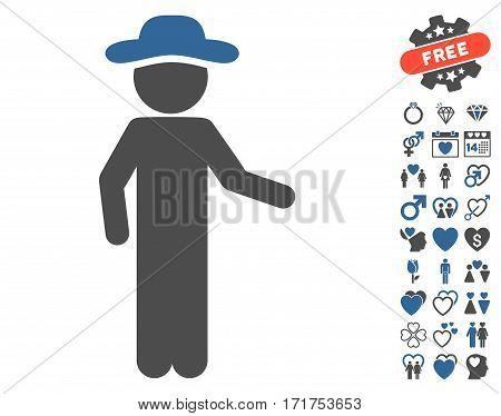 Gentleman Invitation icon with bonus passion symbols. Vector illustration style is flat iconic cobalt and gray symbols on white background.
