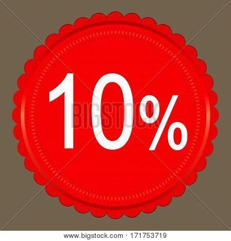Sale 10 percent banner design over a grey background vector illustration