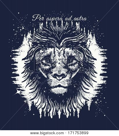 Leo in the night forest tattoo art. Slogan - per aspera ad astra. Star Lion in the night sky tattoo. Symbol travel tourism adventure. Lion t-shirt design