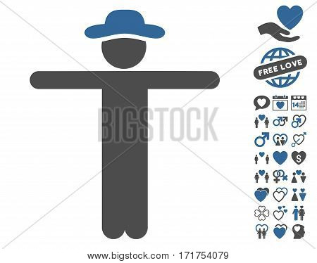 Gentleman Scarescrow pictograph with bonus marriage clip art. Vector illustration style is flat iconic cobalt and gray symbols on white background.