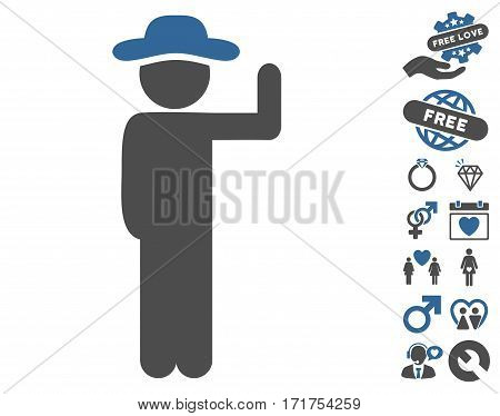 Gentleman Vote pictograph with bonus passion graphic icons. Vector illustration style is flat iconic cobalt and gray symbols on white background.