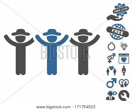 Gentlemen Hands Up Roundelay pictograph with bonus dating graphic icons. Vector illustration style is flat iconic cobalt and gray symbols on white background.