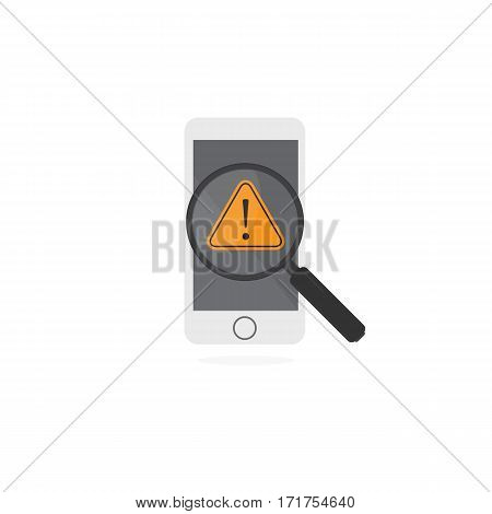 Magnifying Glass Found A Virus On Smartphone. Smartphone with Warning Alert Sign and Magnifying Glass