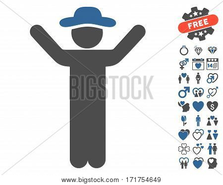 Hands Up Gentleman pictograph with bonus amour clip art. Vector illustration style is flat iconic cobalt and gray symbols on white background.