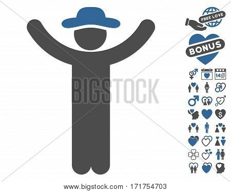 Hands Up Gentleman icon with bonus dating pictograms. Vector illustration style is flat iconic cobalt and gray symbols on white background.