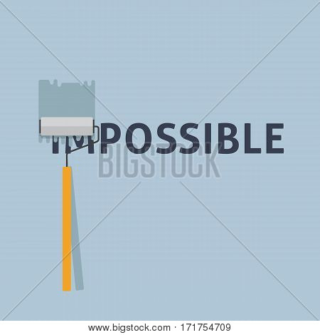 From Impossible to Possible Illustration. Painting a Negative Word On The Wall with Paint Roller