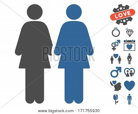 Lesbian Couple icon with bonus amour pictograph collection. Vector illustration style is flat iconic cobalt and gray symbols on white background.
