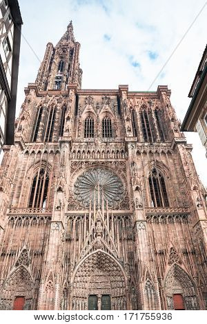 West facade of the Notre Dam of Strasbourg Cathedral in Strasbourg France